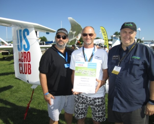 US Aeroclub Principals Sabi Apai and Ors Gyene being congratulated by Pipistrel USA's Michael Coates