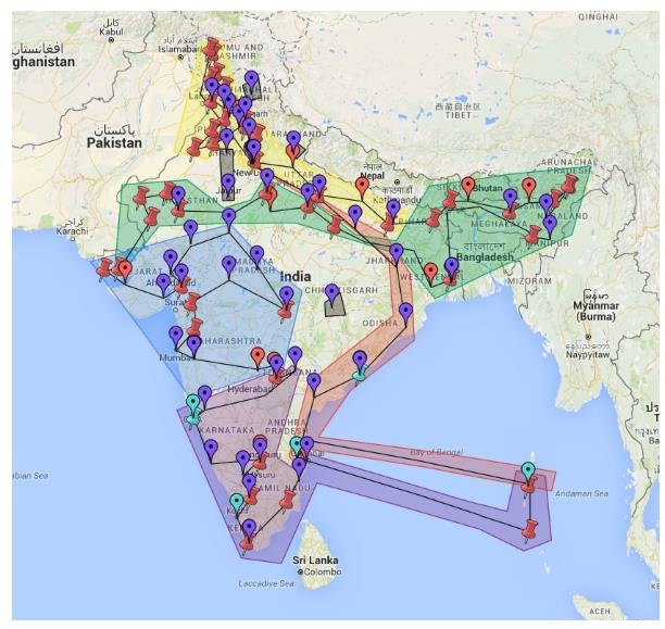 Delivery locations in India