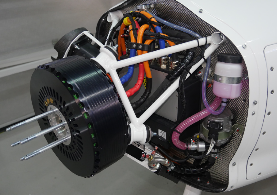 Pipistrel E-811 electric engine mounted on a Pipistrel Velis Electro without propeller and spinner.