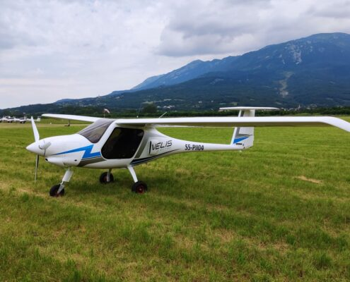 The Velis Electro s/n 003, first customer's airplane of the type, at Ajdovščina airport.